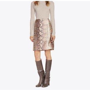 Tory Burch Silk Wool Wrap Python Print Skirt